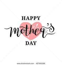 Happy Mother's Day greeting card vector illustration. Hand lettering calligraphy holiday background with heart.