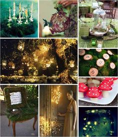 There are some great ideas for an enchanted themed party on this mood board I love the moss covered chair and the little toad stool cup cakes look delicious
