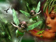Fantasy Fairies   green fairy, beautiful, fairies, fairy, fantasy, frog, green, magical ...