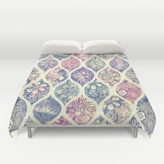 Patterned+&+Painted+Floral+Ogee+in+Vintage+Tones+Duvet+Cover+by+Micklyn+-+$99.00
