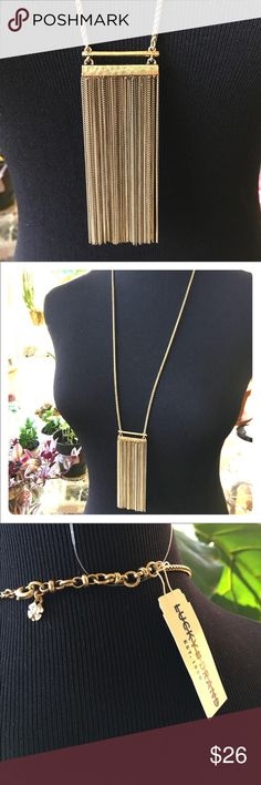 "Lucky Brand Gypsy Caravan Bar Necklace - Gold Store overstock; New with tags; Lucky Brand Gypsy Caravan Bar Necklace; Fringe 4""; Necklace 18""; Adjustable Lucky Brand Jewelry Necklaces"