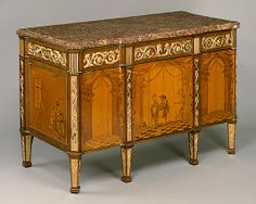 A marquetry commode branded twice on the uprights of its back with the crowned double V mark of Versailles entered the Museum's holdings as part of the outstanding collection of fine and decorative arts formed by Jack and Belle Linsky