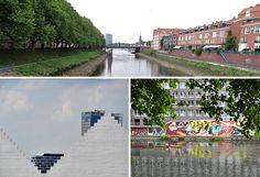 Die Kleine Weser - links der Deich, rechts der Teerhof, vereinzelt Kunst