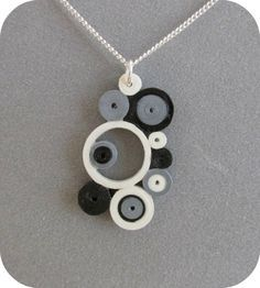 Quilled Black Silver & White Circles Pendant