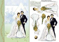 Wedding Couple with Golden Roses on Craftsuprint designed by Barbara Alderson - step by step brigal couple outside of the church on a card front with a choice of sentiments - Now available for download!