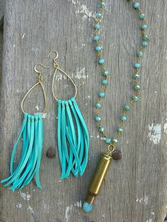 These fringe earrings feature genuine deerskin leather lace, wrapped around a gold-tone metal teardrop hoops, hanging on gold-plated french hooks. These bold beauties fall at just about shoulder length, but are so lightweight and comfortable to wear that youll almost forget you have