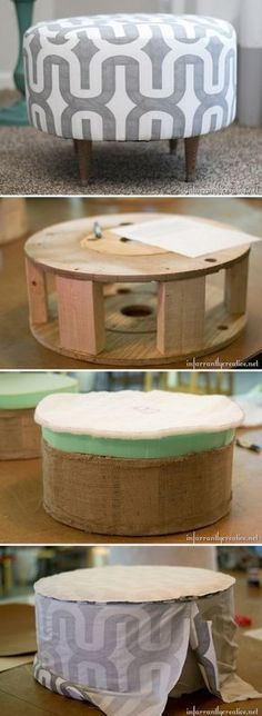 Check out this easy idea on how to make a #DIY electric spool ottoman #homedecor #budget #project @istandarddesign #ottomanmakeoverprojects #buildottomanhome #buildottomanhowtomake #diyottomaneasy