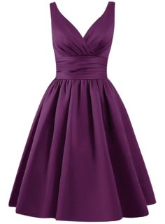The dress is featuring solid color, v neck, sleeveless design and on an A-line silhouette.