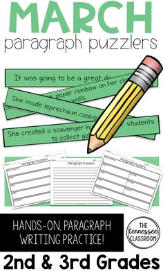 Give your students hands-on paragraph writing practice with Spring Writing Paragraph Puzzlers. Each set will get your students thinking about how to form a paragraph, which will strengthen your writing skills! You will love this March Writing Activity! Teaching Paragraphs, Paragraph Writing, Teaching Writing, Teaching Ideas, Student Teaching, Reading Fluency, Reading Activities, Spring Activities, Writing Practice