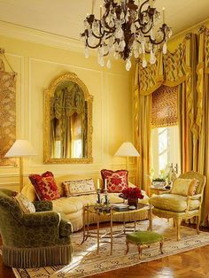 Small, traditional, yellow sitting room with furnishings decked with bullion fringe.