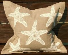 Natural Linen White Starfish Pillow $132.99 - beautiful for a seaside cottage!