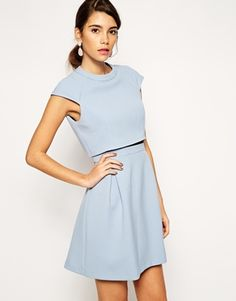 ASOS A-Line Skater Dress with Double Layer and High Neck (also in black)