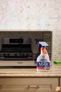 Pro Tip: Erase fingerprints from stainless steel appliances. Degreasing your kitchen is easy with Scrubbing Bubbles Max Kitchen Degreaser. It does the scrubbing for you. Make dirty stovetops shine. Make a microwave disaster disappear. Spray it on and wipe away the messes on any surface and keep it looking and feeling clean. Find it at The Home Depot.