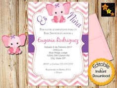 Spanish Baby Shower Invitation Pink Watercolor Purple Invitaciones Invites For