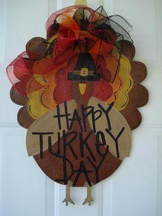 Thanksgiving Turkey door decor Happy Turkey Day door hanger porch sign personalized. $35.00, via Etsy.