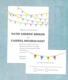 Free wedding invitation download - Bunting Banner Invitation Suite. The invitation was designed by Love and Lavender and is available free for download. It also contains a response card. You can find it here: http://www.loveandlavender.com/downloads/bunting-banner/