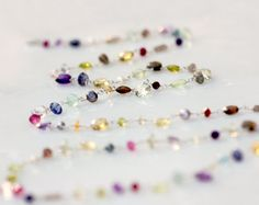 multi precious stone necklace long by SbCollectionsJewelry on Etsy, $115.00