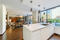 Lower Manhattan Penthouse - Kitchen, Living Room & Roof Terrace. Great Use of Design To Separate Space. [7358*4912] [OC] : RoomPorn