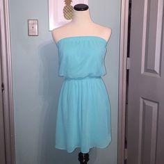 Aqua summer dress! So comfy and cute! Worn twice! Express Dresses Strapless