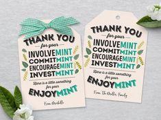 Volunteer Appreciation Gift Tags Editable Mint Favor Tag | Etsy
