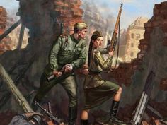 Illustration showing a Red Army sniper woman and a soldier in action.