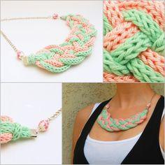 púderrózsaszín és menta színű kötött nyaklánc / knitted necklace in pink and mint green colors