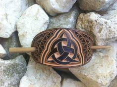 Celtic triquetra hand carved leather hair +_)Stick Barrette - Hair Slide - Haarspange aus Leder - New Ideas Handmade Shop, Etsy Handmade, Handmade Items, Handmade Gifts, Unique Gifts, Leather Carving, Leather Tooling, Celtic Triquetra, Celtic Symbols