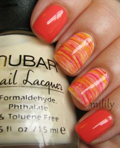 Orange franken with accent nails by Milily Polish. Sugar spun method with a layer of topcoat applied horizontally, then traditionally.