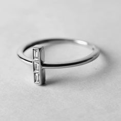 MELANIE 14k Gold Triple Baguette Diamond Ring by LehrkahJewelry
