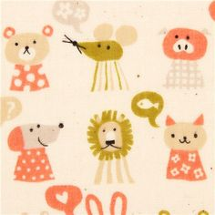 natural Cosmo double gauze rabbit bear pig animal fabric 1