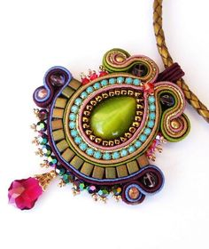 Soutache pendant in Green, Turquoise, Olive, Purple and Gold