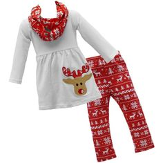 White Reindeer Tunic Outfit w/ Infinity Scarf