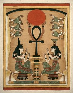 Art print of the ancient Egyptian sister goddesses Isis and Nephthys. These powerful sisters are seen on many sarcophagus because they have the power of resurrection. They are seen here about to resurrect Osiris from the dead where he will become god of the underworld. know ancient Egypt make tour with Egypt car hire for booking visit egyptcarsrental.com