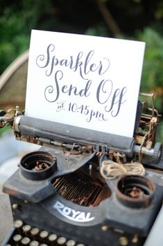 Sparkler Send-Off sign, photo by Alders Photography http://ruffledblog.com/oxnard-barn-wedding #weddingsigns #papergoods #calligraphy