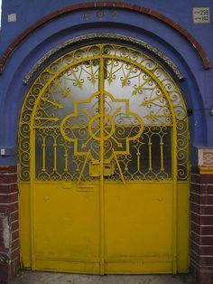 yellow iron door
