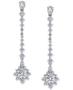 Danori Silver-Tone Cubic Zirconia Bliss Linear Earrings, Only at Macy's