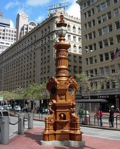 The oldest surviving monument in San Francisco, Lotta's fountain was donated by singer/dancer Lotta Crabtree in 1875. Lotta began her career as a young girl performing for miners in gold country and went on to become one of America's most popular stage performers. After the earthquake in 1906, the fountain, which was one of the few remaining structures on Market Street, became a central meeting place for San Franciscans. The fountain is modeled after a set piece from one of her plays.