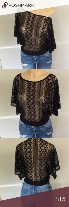Boho see through top. Size M Boho sexy style, see through top, with a wide neck that can be worn off the shoulder. dna sport Tops Blouses
