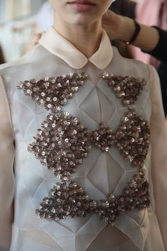 Origami shirt dress detail with textured embellishments in a geometric pattern; sewing ideas // Delpozo FW14
