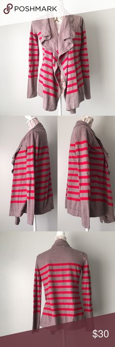 Ann Taylor Loft Cardigan Brown and red striped Ann Taylor Loft lounge cardigan. Open front. Super warm and cozy and great fall colors! Pair with some skinny jeans and booties. Size S. LOFT Sweaters Cardigans
