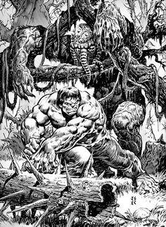 Man-Thing & Hulk by Jim Starlin & Ernie Chan