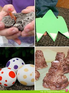 Dinosaur Party Games and Activities - make your own dinosaur egg, dinosaur foot claws, Dinosaur Egg Hunt, volcano Make your own fossil necklace