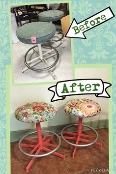 $5 thrift store finds! Spray paint and new fabric makes a world of difference!