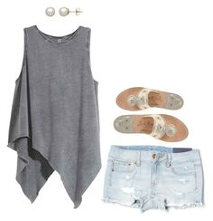 """""""Grey"""" by chloebellia on Polyvore featuring American Eagle Outfitters, Honora and Jack Rogers"""