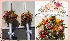 Wedding candle by Event Deco. Find us on Facebook, Event.Deco.page! Anniversary Parties, Floral Wedding, Floral Wreath, Romantic, Wreaths, Candles, Facebook, Party, Instagram