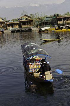 Groceries on a shikara in the Dal Lake, houseboat life, Srnigar, Kashmir, India