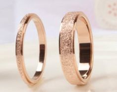 Frosted 18K Rose Gold Ring Thin by JewelPalor on Etsy