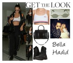 """Bella Hadid With Winnie Harlow Heathrow Airport in London UK July 7 2017"" by valenlss ❤ liked on Polyvore featuring Dr. Martens and Givenchy"