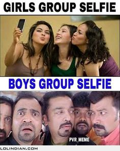 Girls group selfie vs guys group selfie
