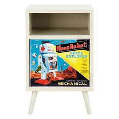 Child's vintage bedside table ROBOT Ref. 135109 Available within 6 weeks 1-year warrantyAfter Sales Service7 days to change your mind This colourful, fun child's bedside table takes after vintage style with old advertisements for robots. With its small niche and printed door, this night table could be the stand for a nice industrial lamp. Design extra: the slanted legs in true retro design. Round off their galaxy with the Astro child's 90cm headboard. Dimensions (cm) : H 60 x W 39 x D 30
